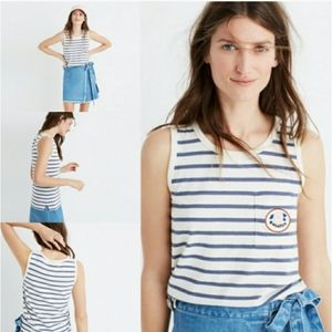Madewell Striped Tank With Embroidered Patch XS